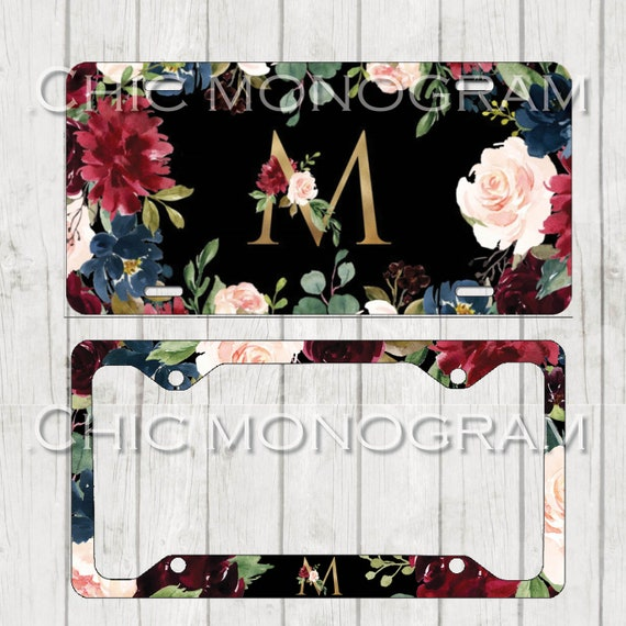 Burgundy & Gold Monogrammed Car Tag Floral License Plate Frame License Plate Holder Personalized Car Tag  Gifts for Bridal Shower