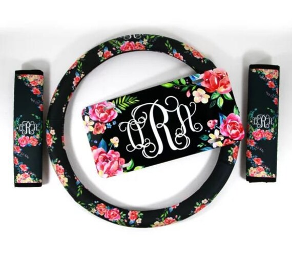 Floral Monogrammed Steering Wheel Cover Seat Belt Cover & License Plate Set Padded Insulated Steering Wheel Cover Car Accessories for Women