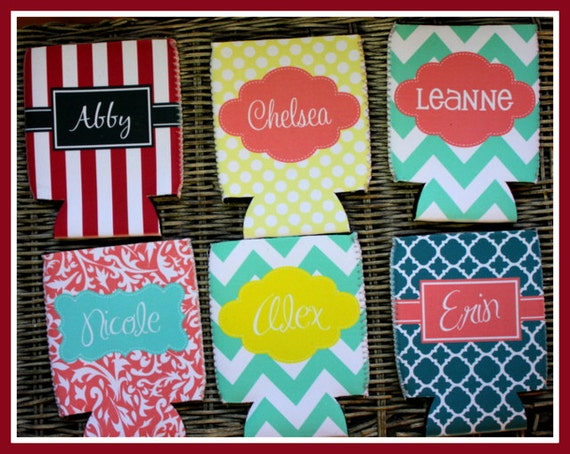 Custom Can Cozies, Personalized Monogram Can Coolers, Beer Coolies, Bridal Party Gifts Bachelorette Party Bridesmaids Groomsmen Gifts