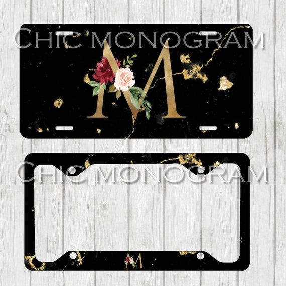 Gold & Black Marble Monogram License Plate Frame Cover Holder Front Car Tag Personalized Custom License Cute Car Accessories Marble Print