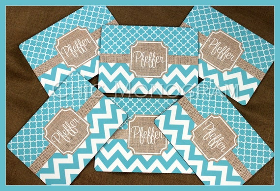 Placemats Hardboard Dining Table Setting Monogrammed Personalized Housewarming Hostess Gifts Mothers Day Gift