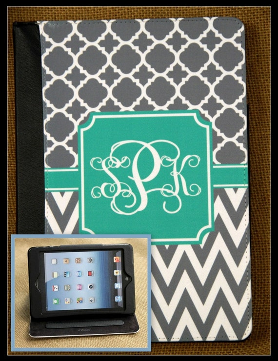 iPad Air iPad 2 iPad 3 iPad Mini Masker Folio Case Cover Monogrammed Personalized Custom Adjustable Angle View Stand Notebook Case