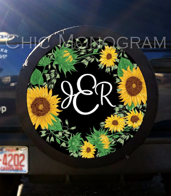 Sunflower Tire Cover Sunflowers Spare Tire Cover Custom Tire Etsy