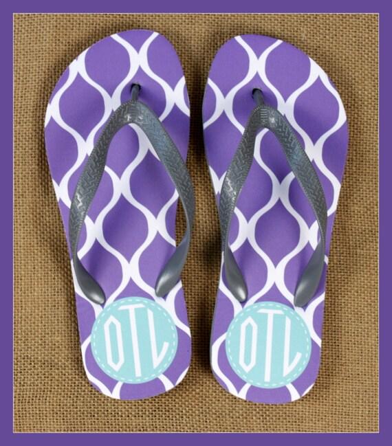 Flip Flops Monogrammed Gift Bridal Party Bachelorette Party Wedding Teacher Graduation Personalized Custom Flip Flops Sorority Gifts for Mom