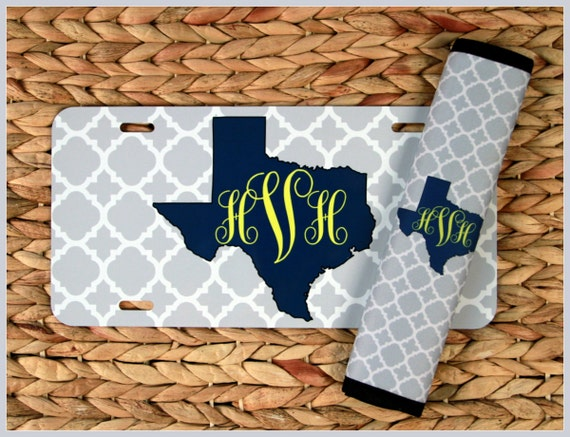Home State Front License Plate & Seat Belt Cover Set, Texas, Monogrammed Gifts Personalized Custom Cute Car Accessories For Women