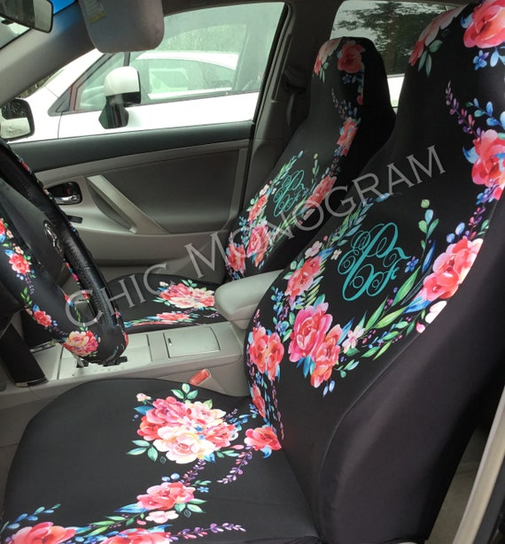 Classy Black Floral Car Seat Covers Set Of Two Front Seat Covers Steering Wheel Cover Monogram Personalized Seat Covers For Car For Vehicle