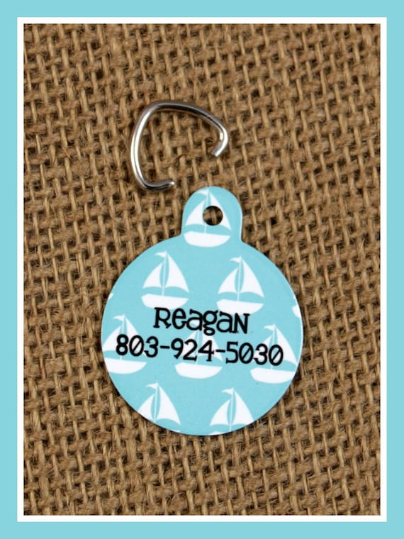 Pet Tag ID Tag Pets Cats Dogs Dog Tag Personalized Cat Tag Monogram Nautical Chevron Dog Gift