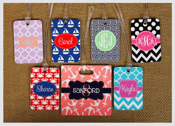 Bag Tags Monogram Gift Luggage Monogrammed Gifts Gym Bag Tags Personalized Custom Gifts Bridal Party Bridesmaids Groomsmen Mom