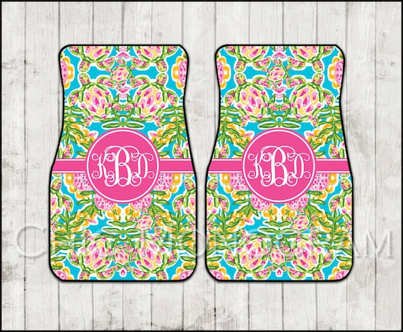 Preppy Car Mats Lilly Inspired Nautical Swimming Turtles Floor Mats Monogram Personalized Custom Cute Car Accessories For Women Sweet 16