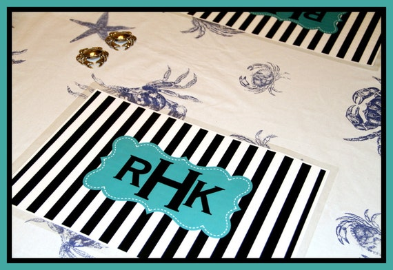 Monogrammed Placemat Set of Four, Personalized Placemats, Monogrammed Placemats, Laminated Placemats, Paper and Laminate Placemats