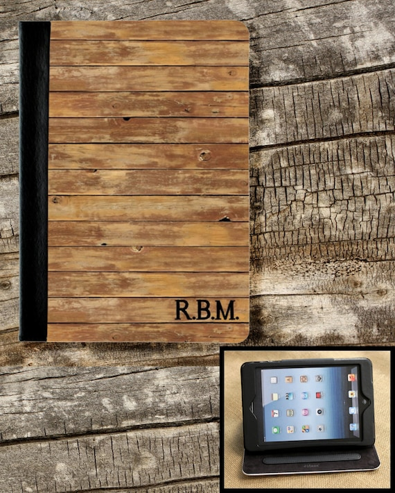 Gifts for Men iPad Air iPad 2 iPad 3 iPad Mini Folio Case Cover Personalized Custom Adjustable Angle Rustic Masculine Gifts for Him