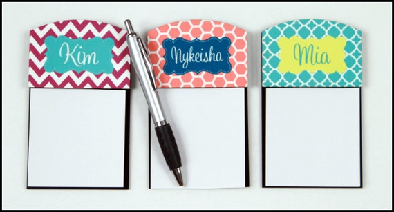Neat Gifts for Teachers  Personalized Sticky Note Holder Gifts for Coworkers Monogram Office Accessories Personalized Gifts for Teacher