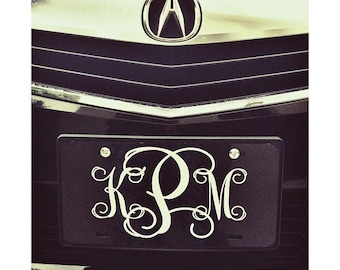 Classy Black and White Front License Plate, Personalized Monogrammed Car Tag Car Accessories Gift Sweet 16 Cute For Women Gift