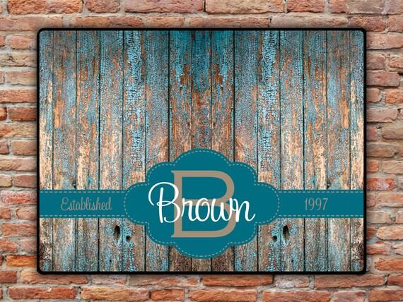 Personalized Rustic Door Mat, Custom Rustic Decor, Monogrammed Gifts Custom Wood Look Rug Doormat Front Door Mat Housewarming Wedding Gifts