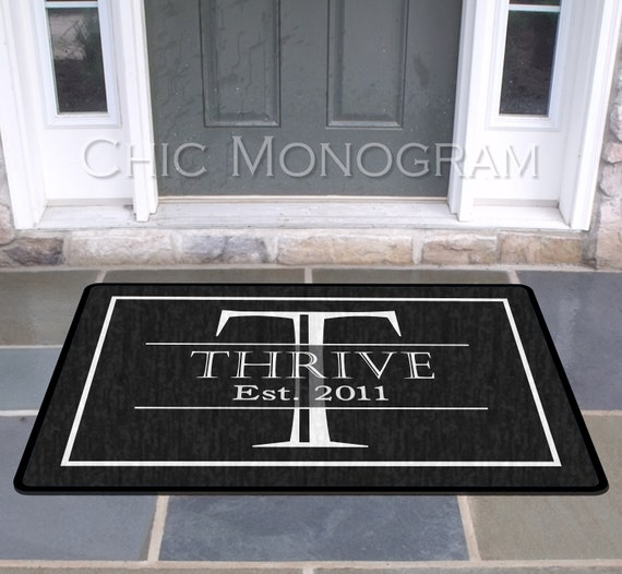 Elegant Black And White Family Name Front Door Mat Doormat | Etsy