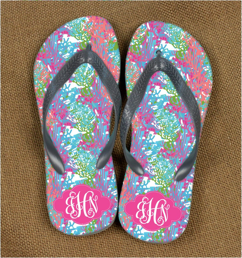 a37a332ab1636 Monogrammed Sandals Lilly Inspired Summer Flip Flops Monogrammed Gift  Bridal Bachelorette Party Monogram Sandals Personalized Flip Flops