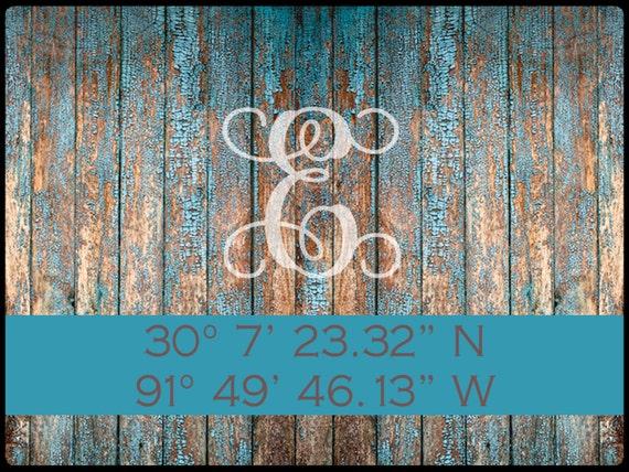 Coordinates Wood Look Door Mat, Custom Doormat Rustic Personalized, Latitude Longitude Custom Rug Front Door Mat Housewarming Wedding Gift