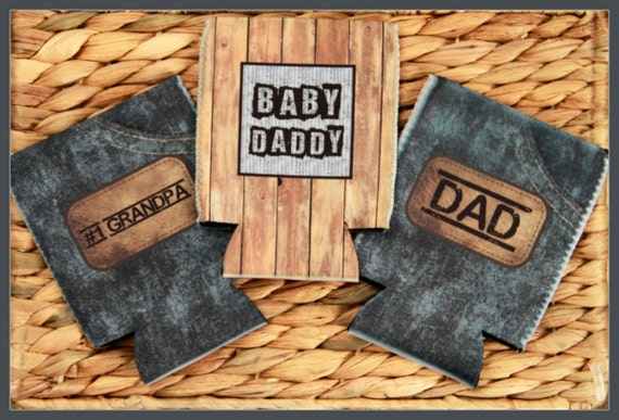 Baby Daddy Can Cooler Funny Gifts for Dad & Grandpa Masculine Custom Can Insulator Personalized Beer Cozy Gifts for Him New Dad Gifts