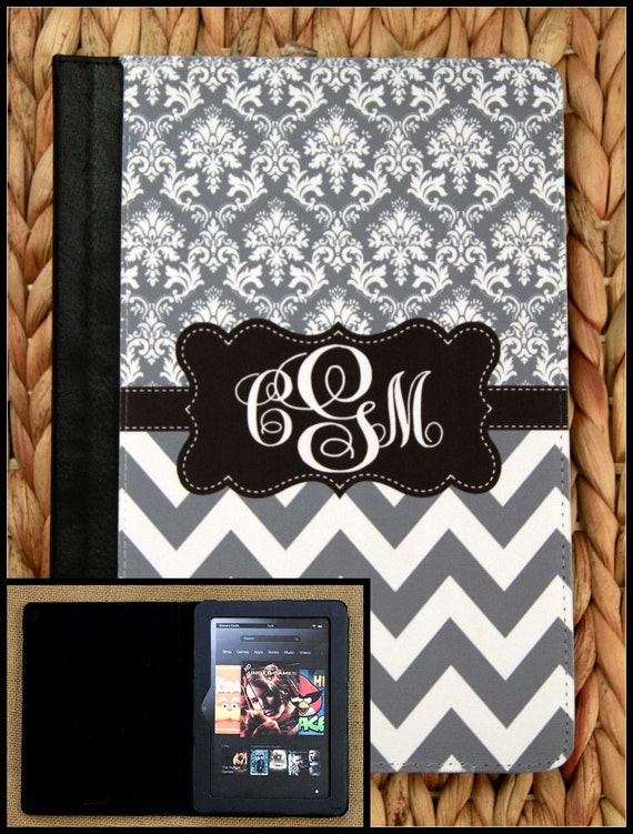 """Kindle Fire Case Gift Kindle 7"""" Case HD Case Nook Color Notebook Folio Monogrammed Personalized Custom Electronic Accessories"""
