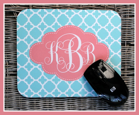 Gift Ideas Personalized Mouse Pad, Sky Blue and Clementine, Monogrammed Mouse Pad, Monogrammed Mousepad, Custom Mouse Pad, Custom Mousepad
