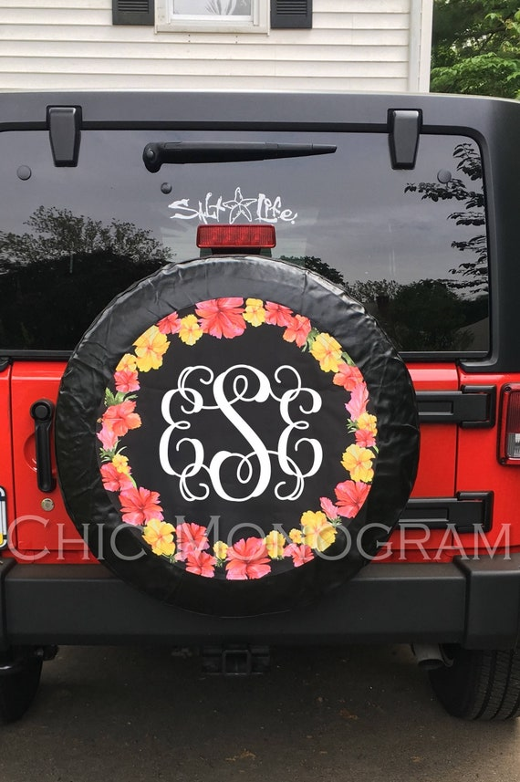 Monogrammed Tire Cover Hibiscus Flowers Spare Tire Cover Etsy