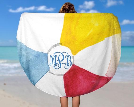 Monogrammed Circle Beach Towel Monogrammed Circle Towel Personalized Circle Towel Personalized Circle Beach Towel Monogram Round Beach Towel