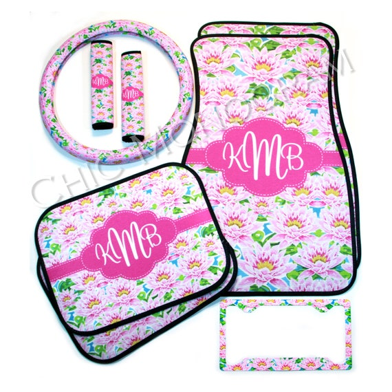 Lilly Inspired Mothers Day Car Accessories Set Car Mats Steering Wheel Cover & Seat Belt Covers + License Plate Frame Custom Monogram