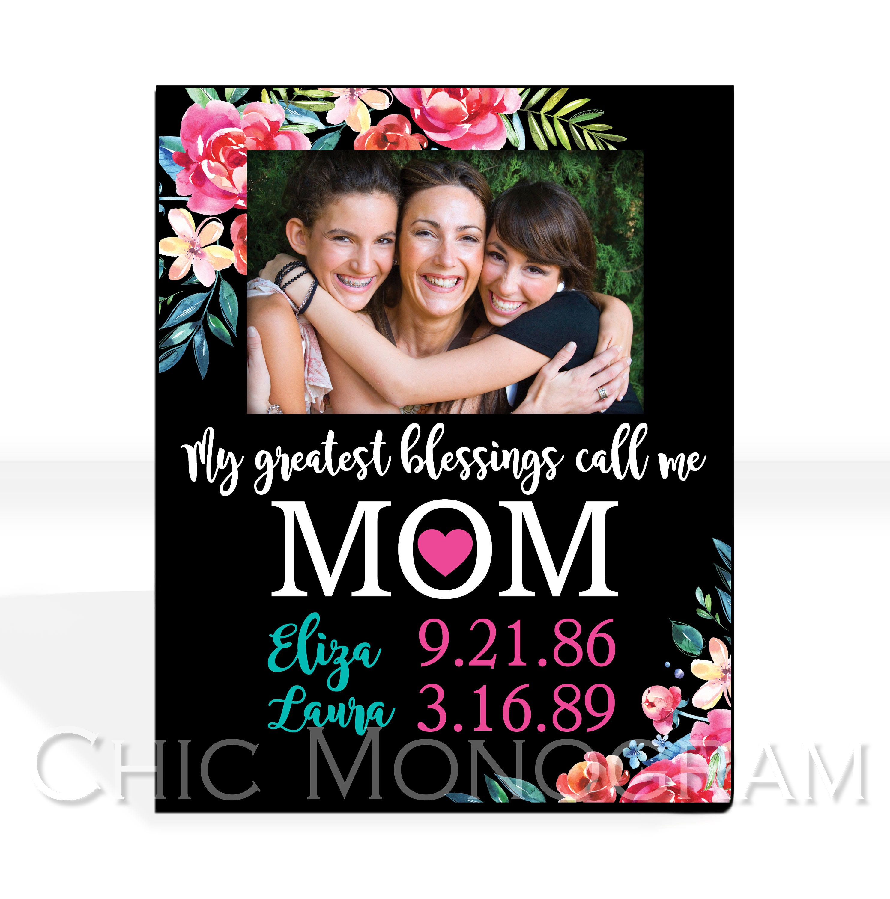 Personalized Mothers Day Gift Custom Family Photo Frame Aunt Grandma ...