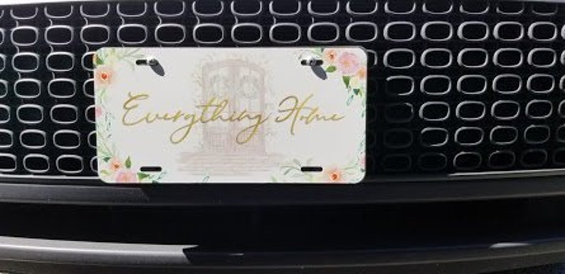 Personalized Monogrammed Ornamental Floral License Plate Custom Car Auto L163