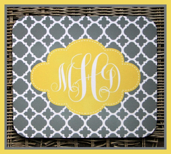 Monogrammed Gifts Personalized Mouse Pad in Gray Chic Chain and Yellow Scallop Personalized Mousepad Monogrammed Mouse Pad Custom Mouse Pad