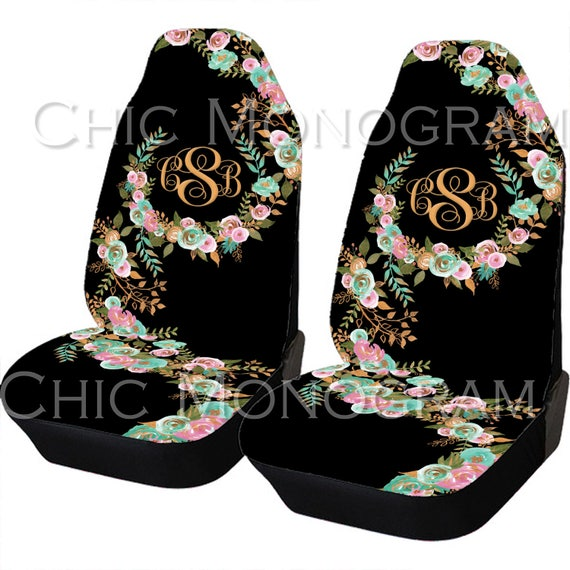 Mint and Gold Floral Car Seat Covers Set Of Two Front Seat Covers Monogrammed Personalized Car Accessories Seat Covers For Car For Vehicle