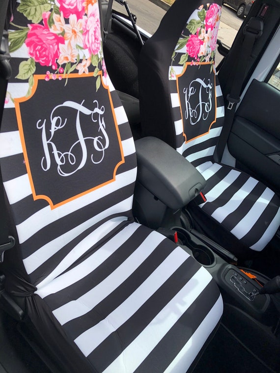 Floral And Stripe Car Seat Covers Flowers Front