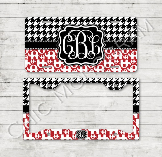 Alabama License Plate Car Tag Elephant Houndstooth Monogram Plate Frame Cover Holder Custom Monogrammed Personalized School Gifts for Her