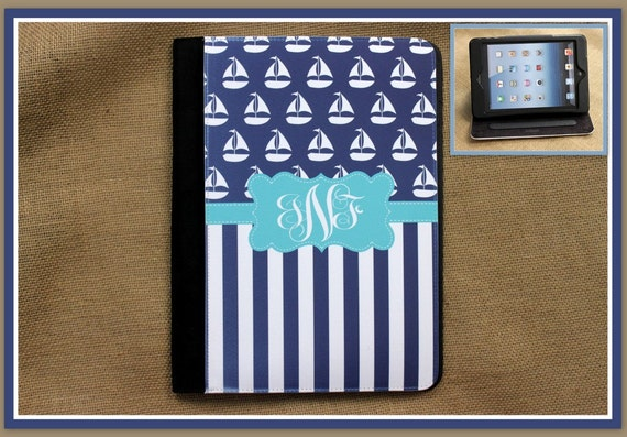 iPad Air 2 iPad 2 iPad 3 Air iPad Mini Case Folio Cover Masker Monogrammed Personalized Custom Adjustable Angle View Stand Notebook Case
