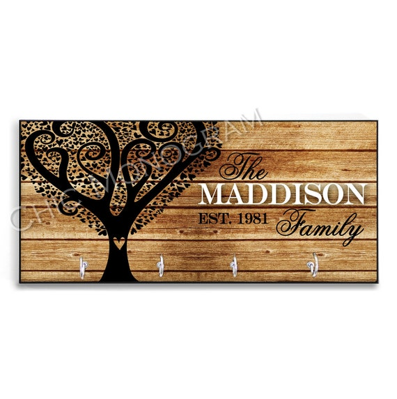 Mother's Day Gift for Mom Tree Personalized Wood-Look Key Holder Key Rack Hanger Custom Heart Family Tree Housewarming Rustic Home Decor