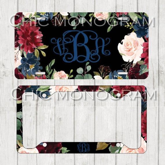 Dark Floral Monogrammed Car Tag Sunflowers Floral License Plate Frame License Plate Holder Personalized Car Tag  Gifts for Bridal Shower
