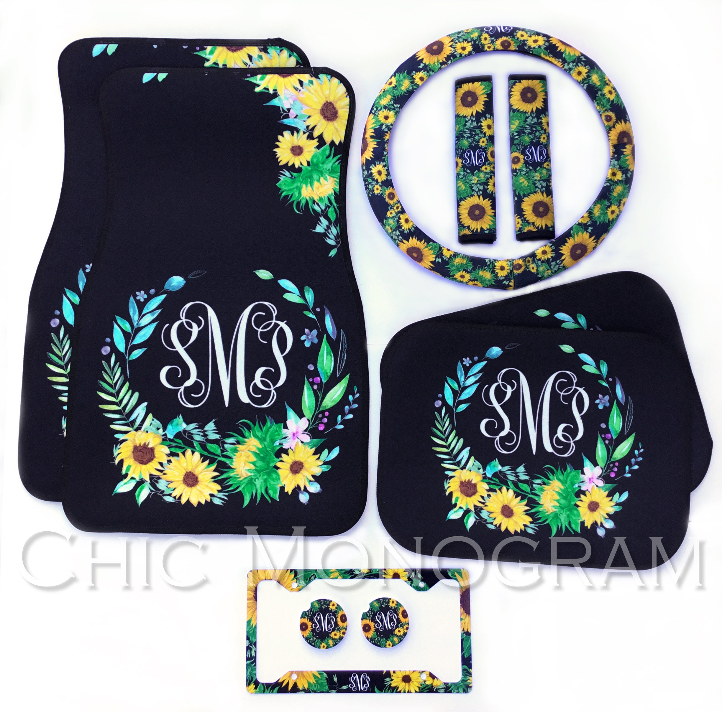 Monogrammed Floor Mats >> Sunflower Car Accessories Set Monogrammed Car Floor Mats ...