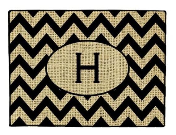 Door Mat Burlap Look Personalized Rug Monogrammed Doormat Custom Door Mat, Personalized Doormat, Monogrammed Door Mat Chrevron