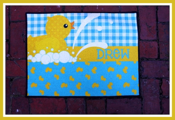 Nursery Rug Personalized Monogrammed Gifts New Baby Gift Nursery Decor Baby Girl Baby Boy Nursery Rug Mat Customized Rubber Duck Nursery Art