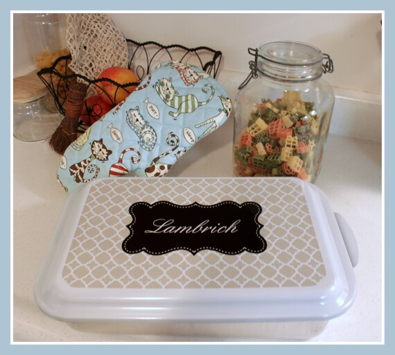 Casserole Dish Gift Ideas Monogrammed Gift Personalized Home Living Kitchen Housewarming Wedding Shower Cake Pan Hostess Navy Clover Pattern