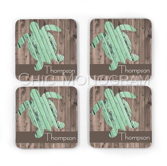 Personalized Rustic Cottage Look Turtle Hardboard Coasters Custom Monogram Coasters Monogrammed Gifts Beach House Decor Mothers Day Gift