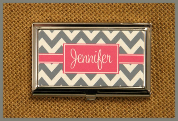 Business Card Case Personalized Monogrammed Gifts Monogram Personalized Gift Corporate Office Mate Friend Co-Worker Desk Accessories