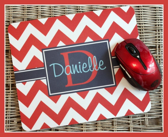 Mouse Pad Monogrammed Gifts Personalized Mousepad Chevron Computer Accessories Geekery Custom Desk Coworker Gifts Office Gifts