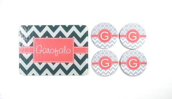 Personalized Glass Cutting Board Coaster Set Monogrammed Gifts for Couples Hostess Wedding Gift Ideas Housewarming Monogram Engagement Gifts
