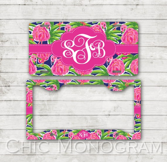 Preppy Pink Flamingo License Plate Monogram Plate Frame Personalized Custom Gift Set Cute Car Accessories Lilly Inspired Spring Gift