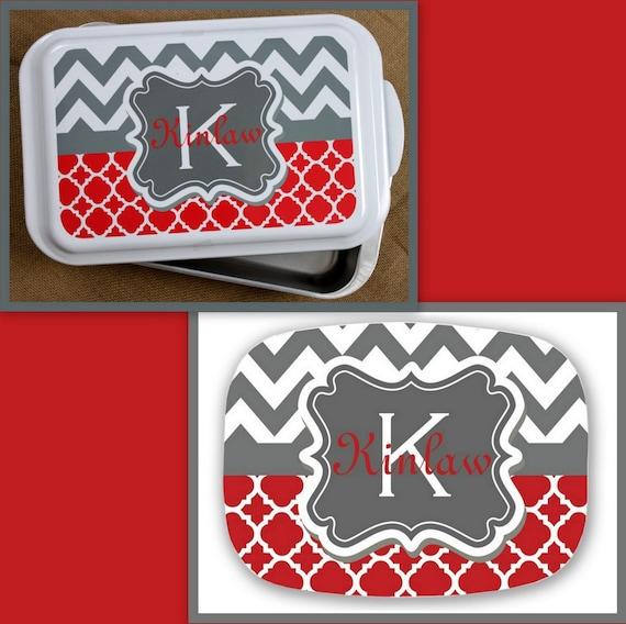 Casserole Dish Platter Gift Ideas Monogrammed Personalized Home Living Kitchen Housewarming Wedding Shower Cake Pan Hostess Melamine Plate