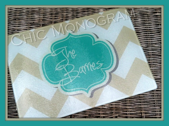 Personalized Mothers Day Glass Cutting Board Custom Monogrammed Gifts for Mom Hostess Ideas Housewarming Monogram Gifts for Cooks