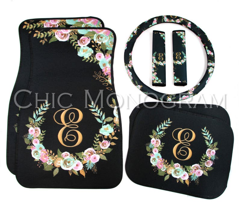 Monogrammed Floor Mats >> Mint And Gold Floral Mix And Match Monogrammed Car Mats Monogram Car Floor Mats Steering Wheel Cover Seat Belt Covers Custom Car Accessories