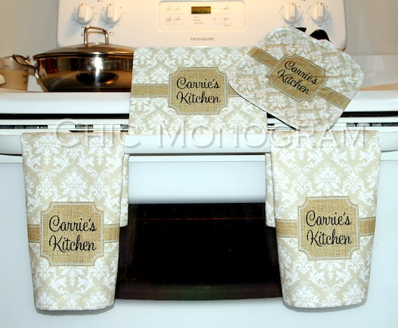 Mother's Day Cooking Gift Set Kitchen Hand Towels Trivet Pot Holder Personalized Custom Hot Plate Dish Towels Oven Mitt Gift for Mom