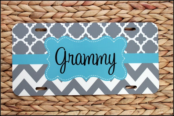Personalized Car Tag for Grammy, License Plate for Grandmother, Car Tag Personalized Car Accessories Chevron License Plates New Car Sweet 16
